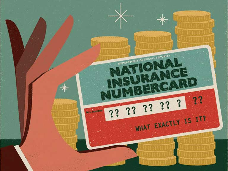 An illustration of a hand holding a National Insurance card covered in question marks to represent the question of 'What is National Insurance?'