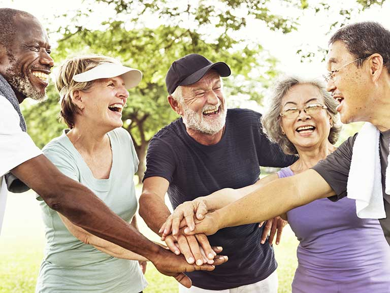 A group of people cohousing go exercising together