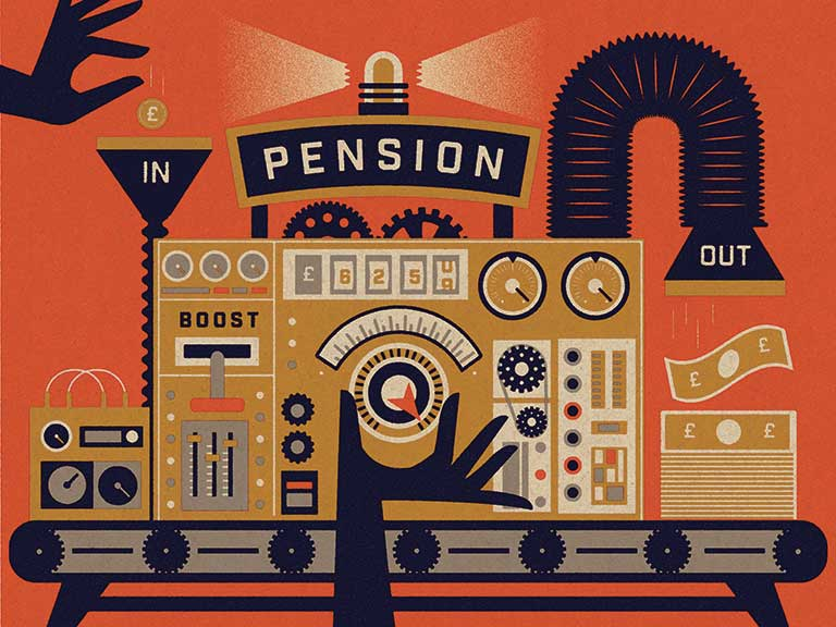 An illustration of a pension machine
