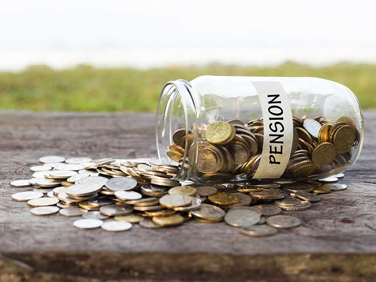 An emptying pension pot to represent drawdown