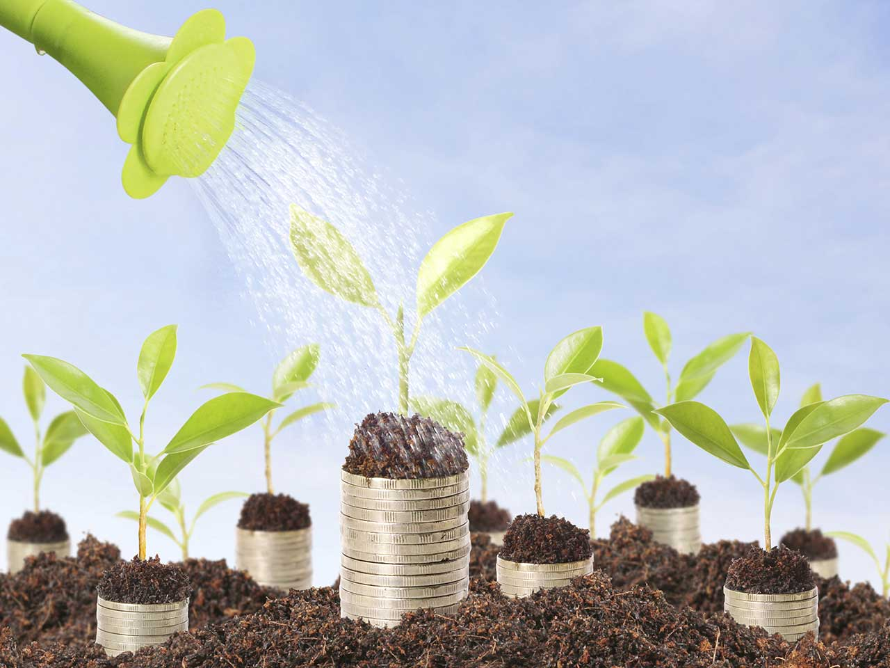 Watering can pouring water onto shoots springing from piles of coins to represent growing investments