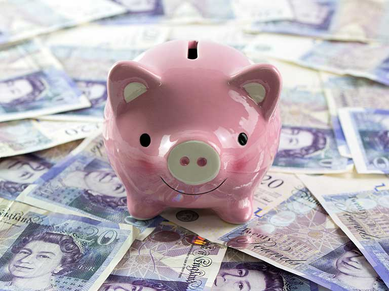A piggy bank sits on a pile of £20 notes to represent holding too much in cash