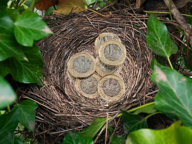 British pound coins in a nest to represent saving in a LISA