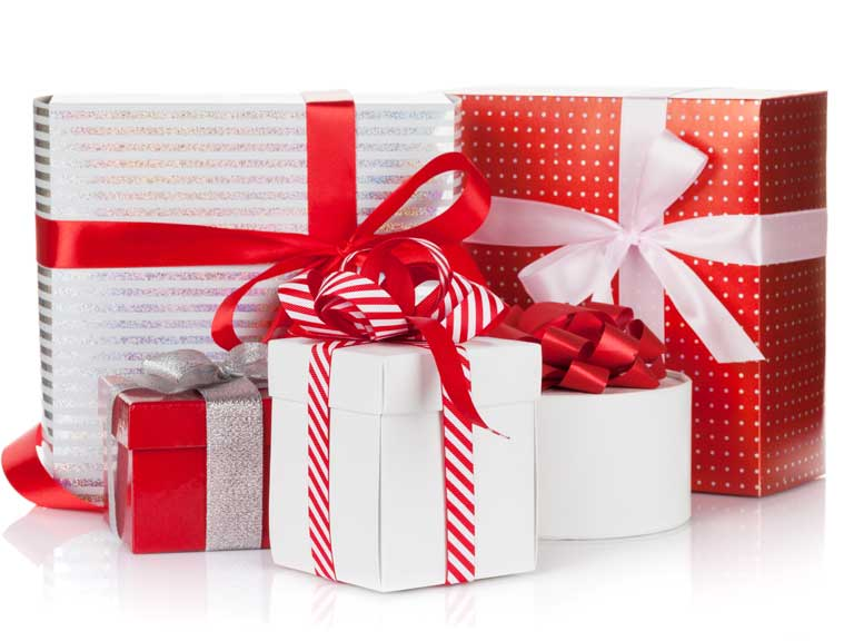 A stack of gifts and presents