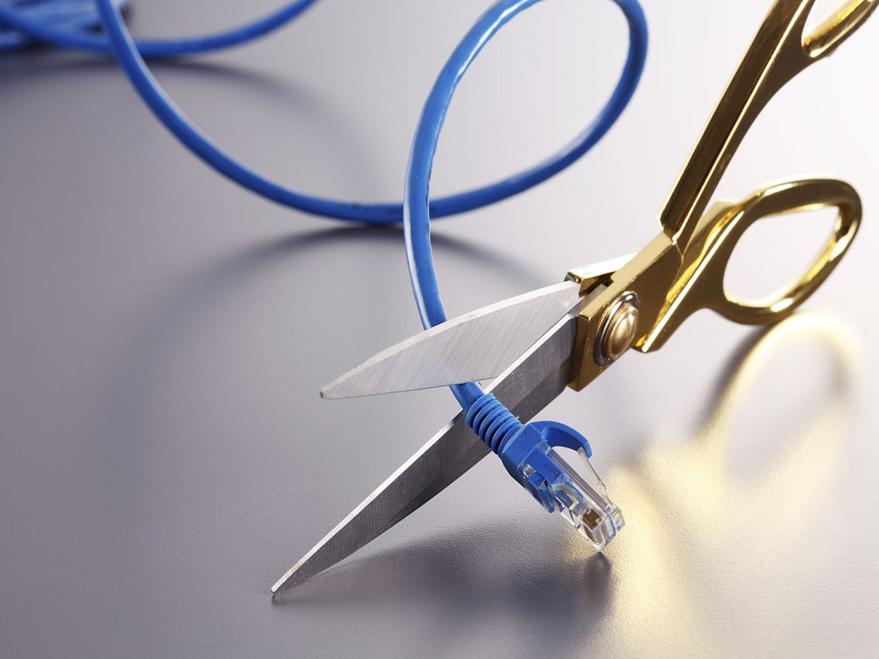 Cable being cut by scissors