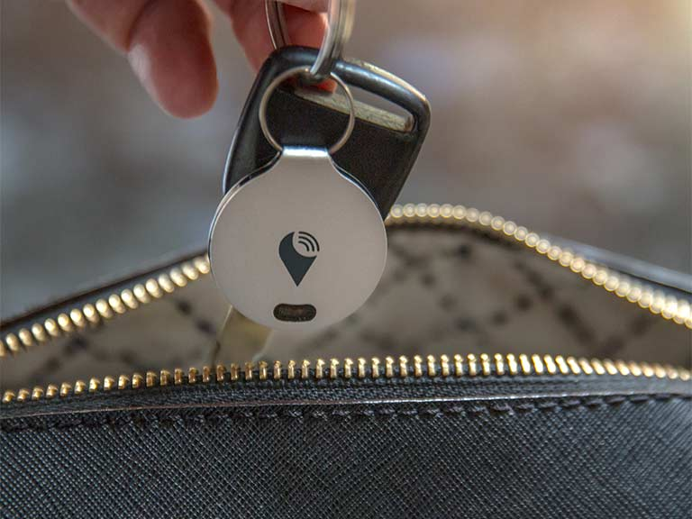 Silver TrackR attached to keys