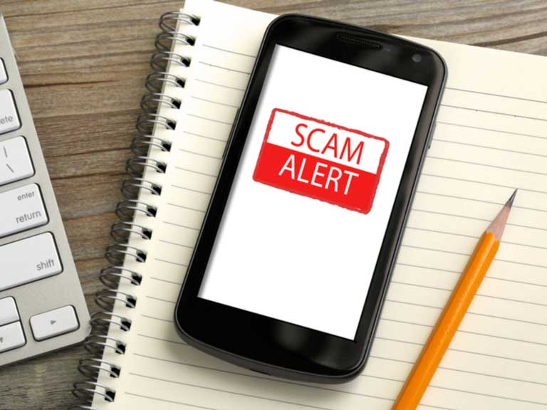 Mobile phone with the words Scam Alert on the screen