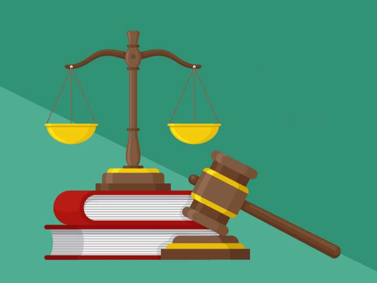 Image of scales of justice, gavel and books
