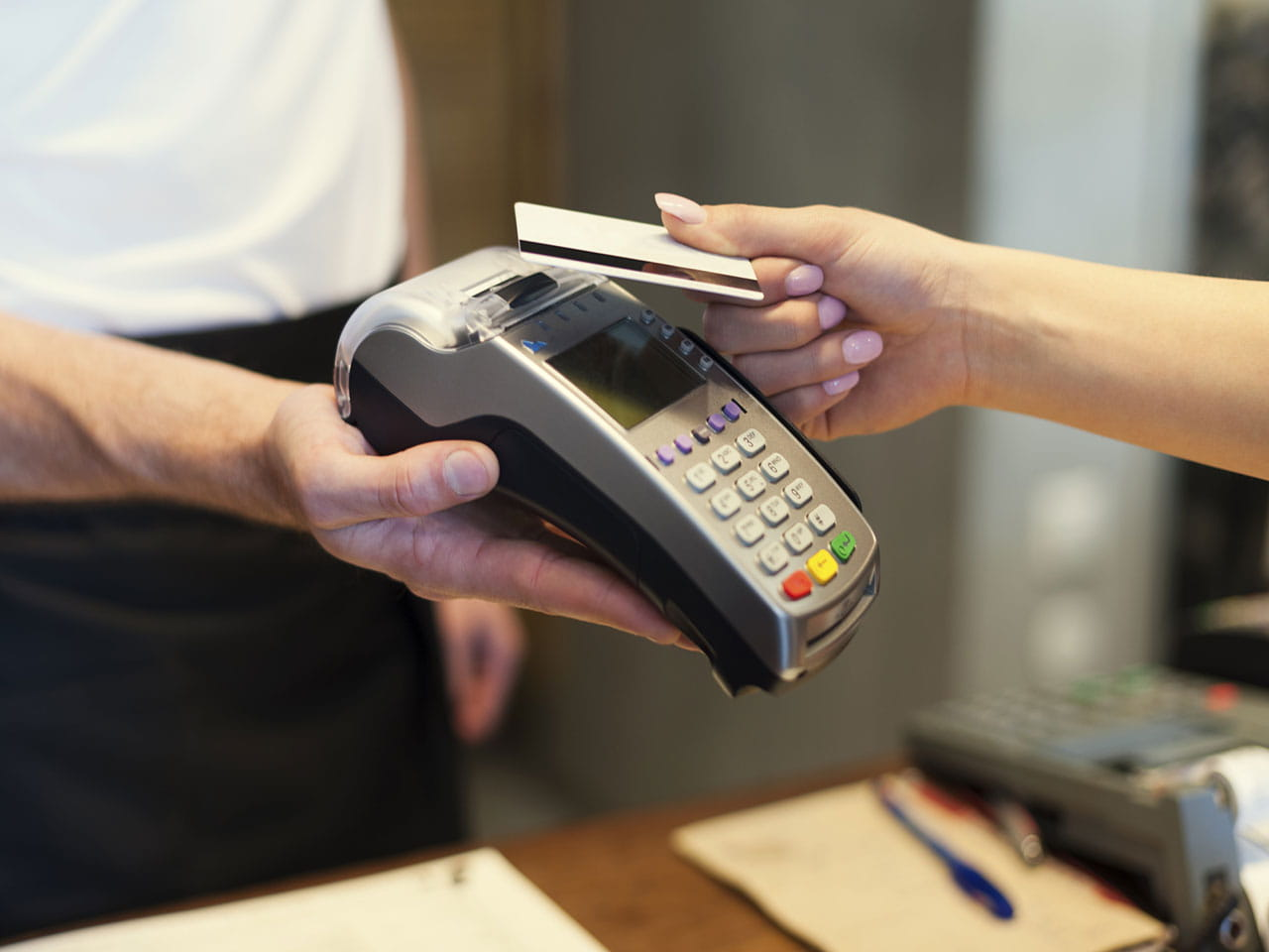 A transaction using a credit card machine