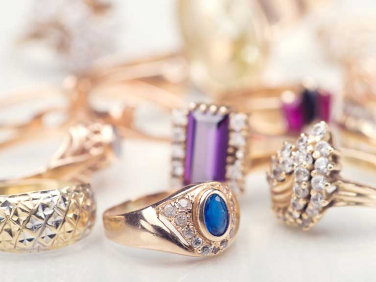 A selection of expensive rings and other jewelery
