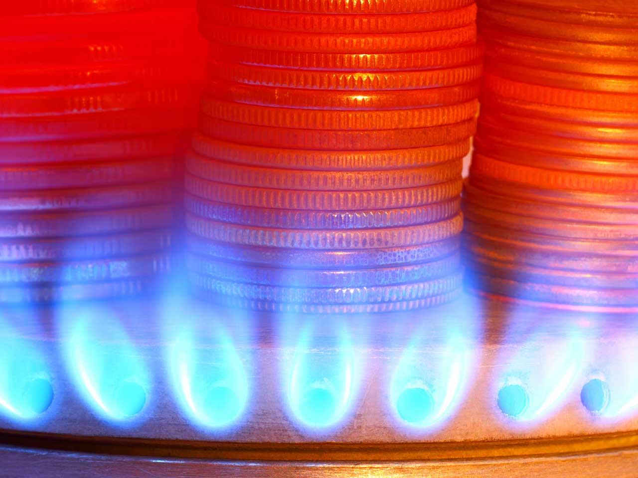 Gas flame and coins