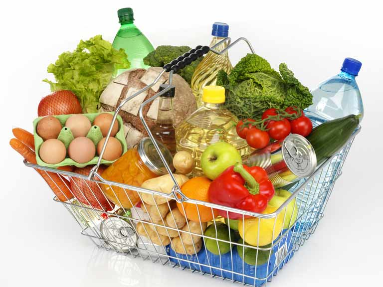 Shopping basket filled with groceries