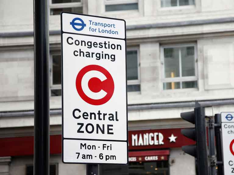 London congestion charge Central Zone warning sign