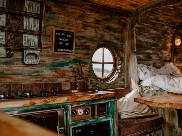 The interior of a fancily decked out campervan