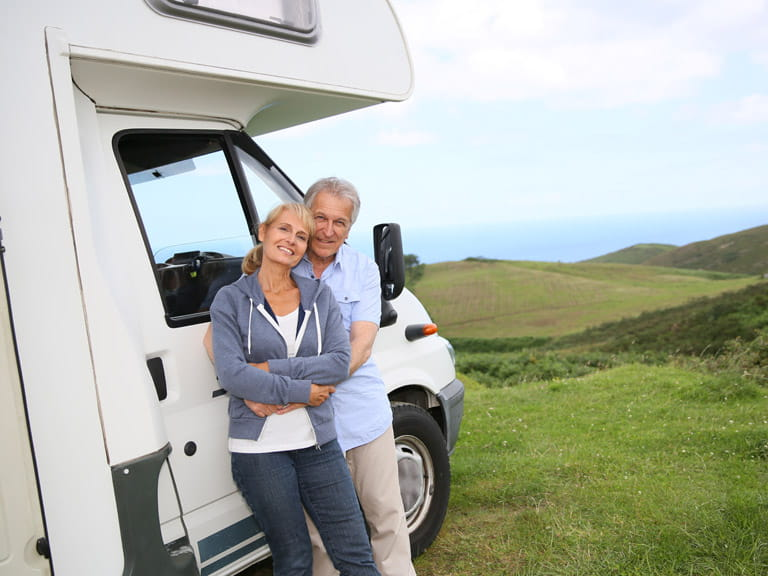 Couple enjoying their motorhome