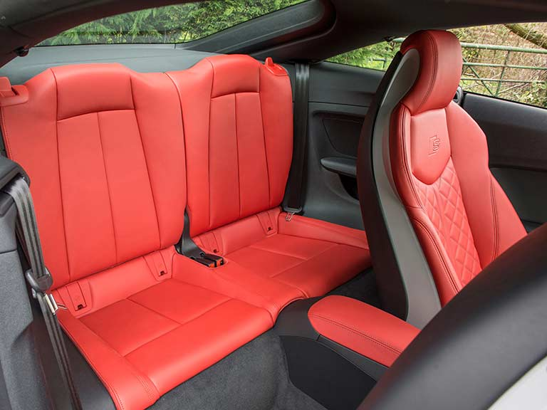 The red rear seats of the Audi TTS