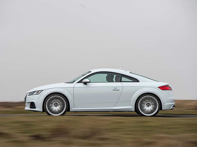 White Audi TTS on the road