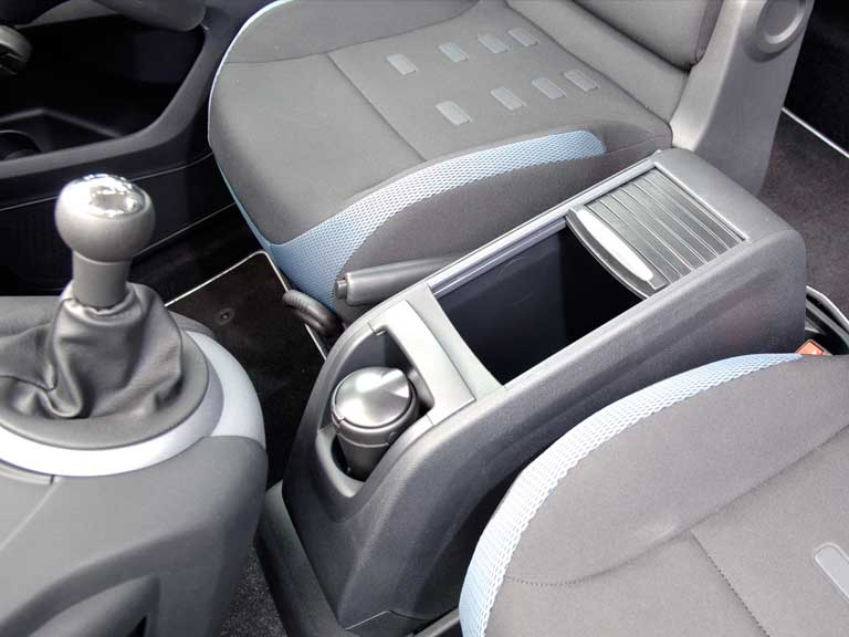 The front seat cubby of a Citroen Berlingo