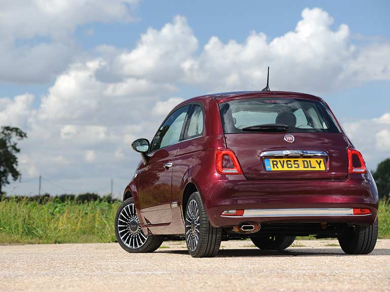 The rear view of the Fiat 500