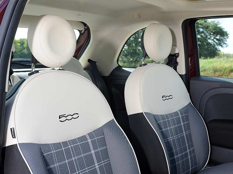 The front seats of the Fiat 500