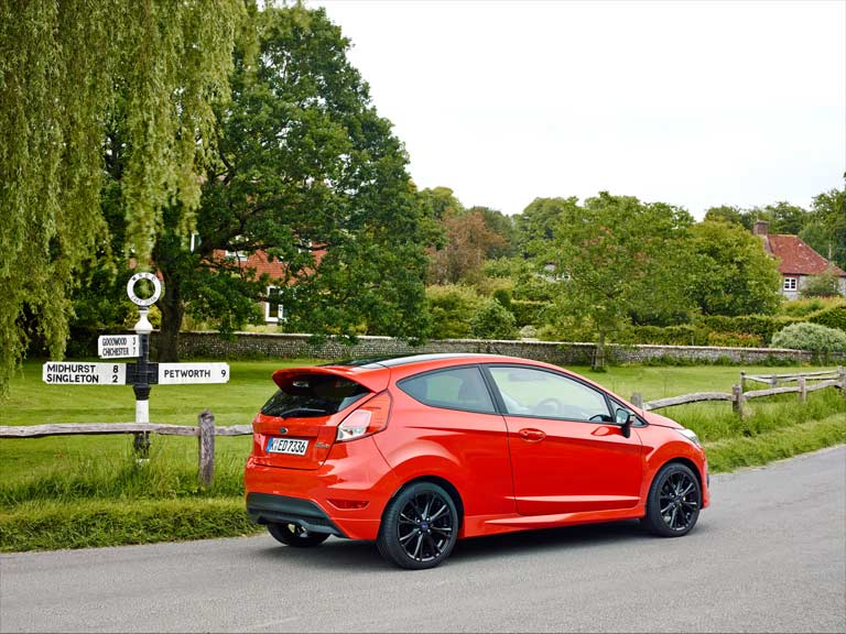 Ford Fiesta 1.0-litre EcoBoost driving through a country village