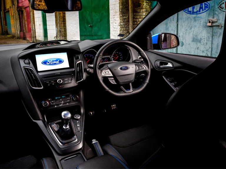The Focus RS' interior is clean, fresh and easily as good as it needs to be