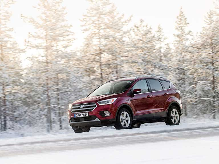 The Ford Kuga in the snow