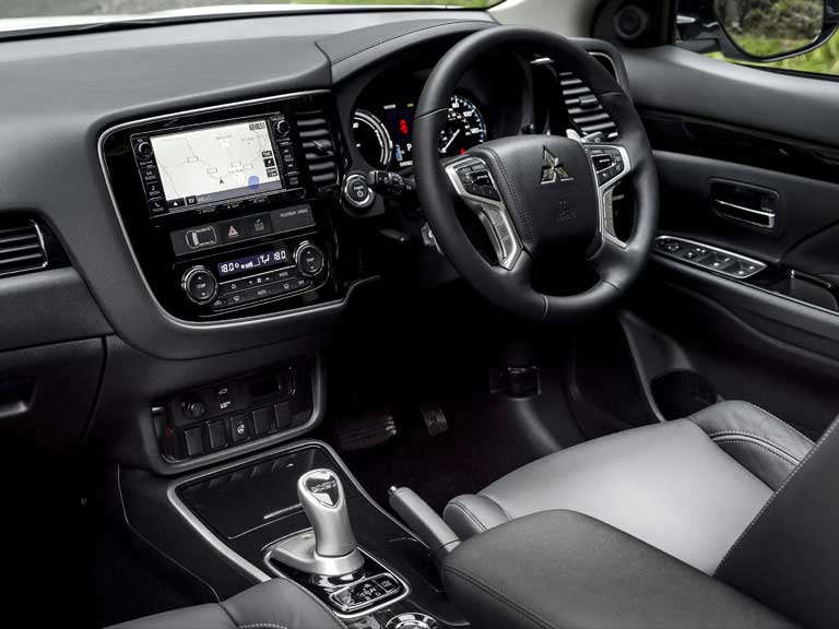 The interior of a Mitsubishi Outlander PHEV