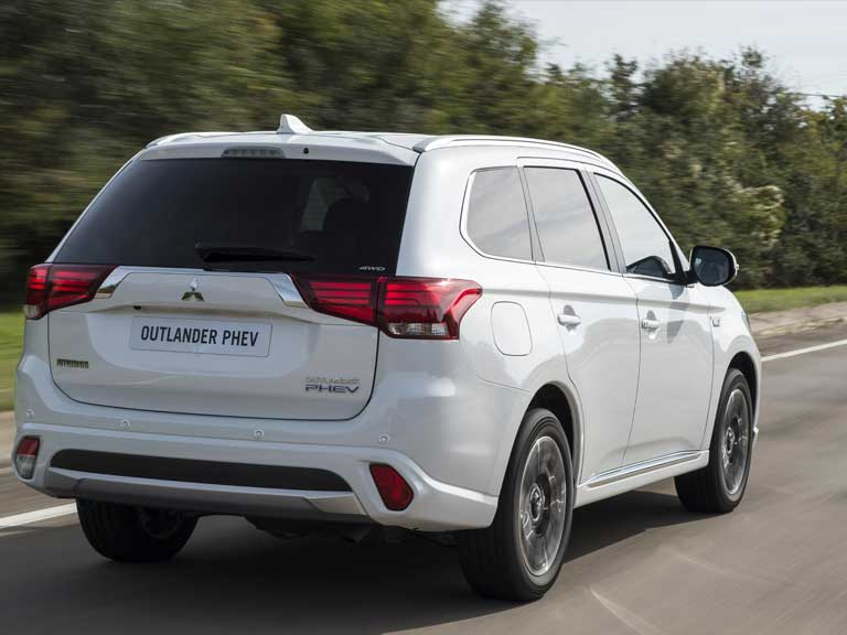 Rear view of a Mitsubishi Outlander PHEV