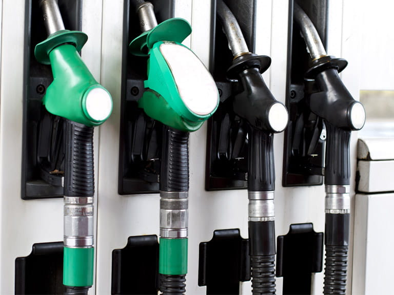 Petrol pumps with unleaded petrol and diesel