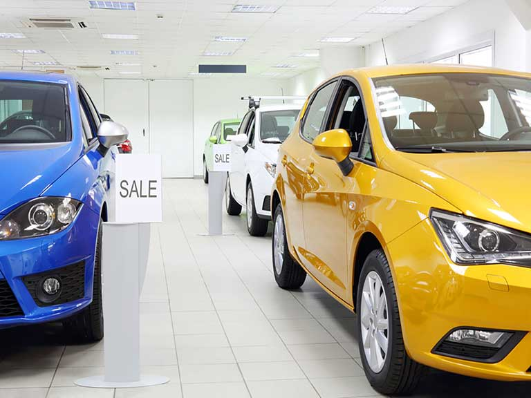 New cars in a showroom