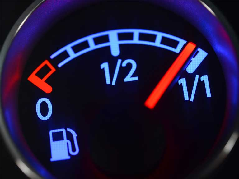 Petrol gauge on a car
