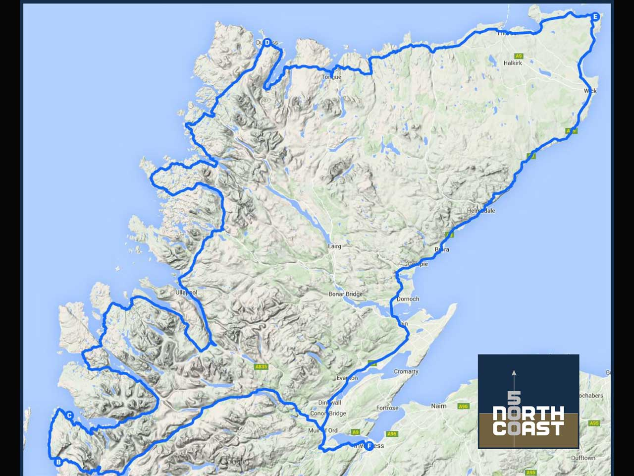 Map of the North Coast 500 route in Scotland