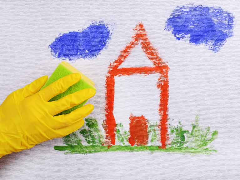 WD40 can help remove crayon and other marks from hard surfaces