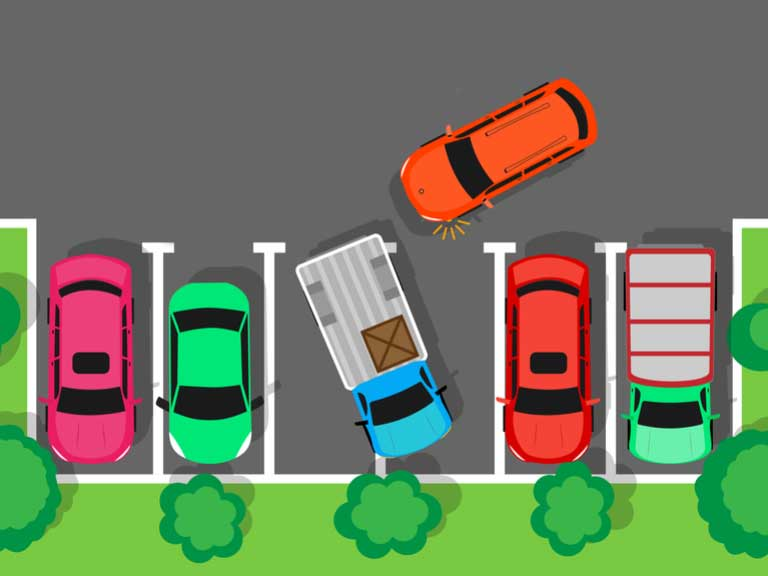 Illustration of a car trying to park in a car park but a van has taken up two spaces by parking diagonally