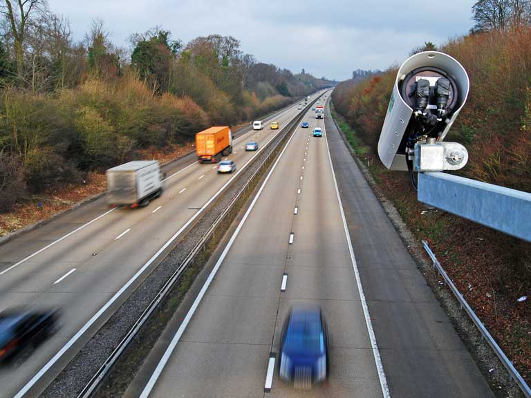 Speed camera operating on a busy motorway
