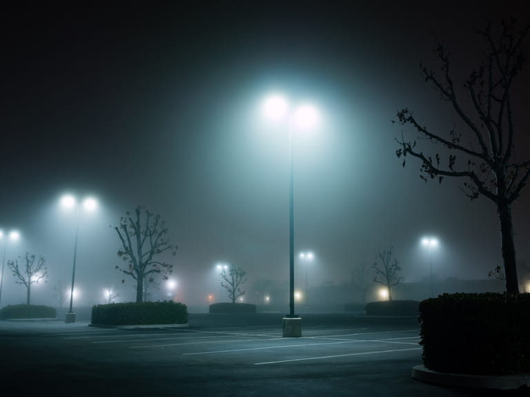 Dark and foggy car park