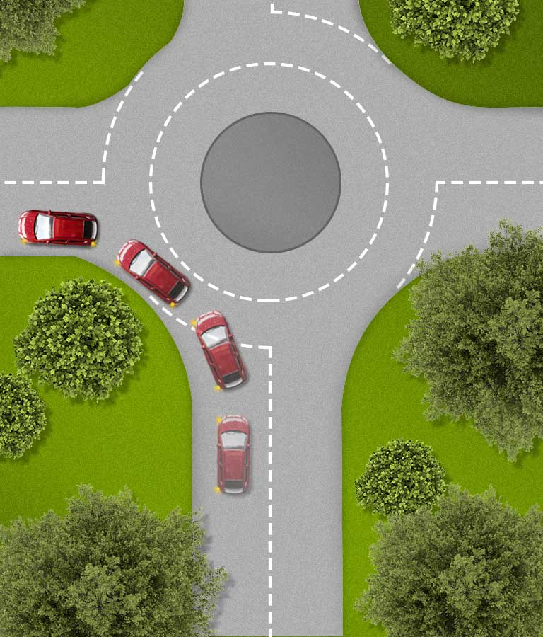 Turning left on a roundabout