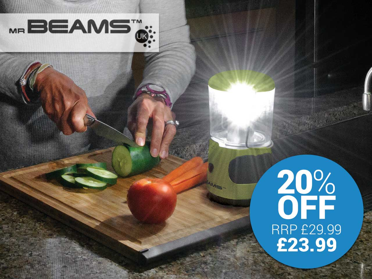 20% discount on Mr Beams UltraBright LED Lantern with featured USB phone charger