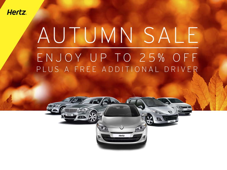 Hertz Autumn Sale | save up to 25% plus receive a free additional driver