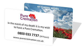 Pure Cremation funeral wishes card