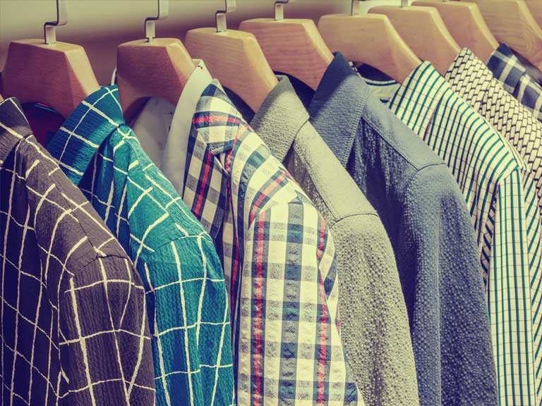 Shirts in a wardrobe