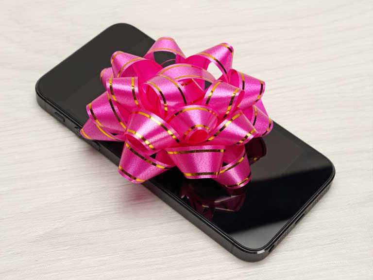 An expensive phone bought as a gift