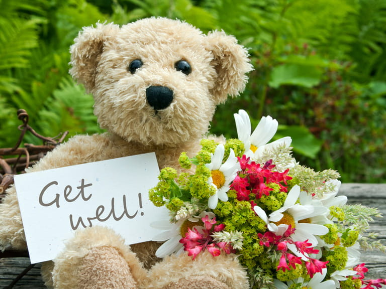 Get well soon teddy and flowers