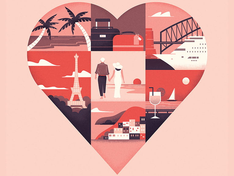 A pink heart illustration to represent finding love on holiday