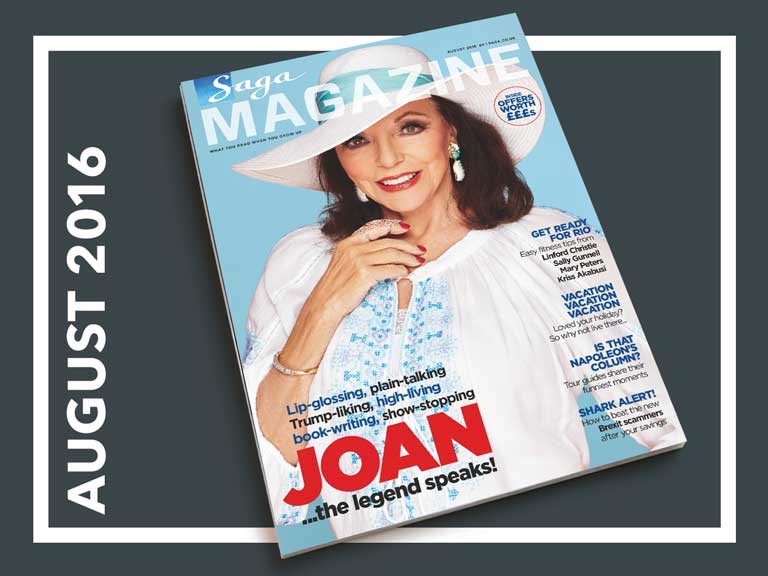August issue of Saga Magazine featuring Joan Collins