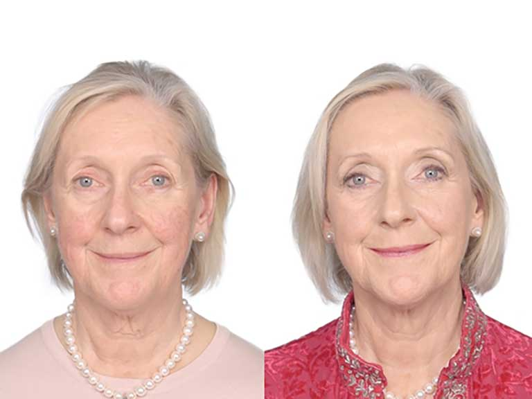 An older woman models Look Fabulous Forever make-up