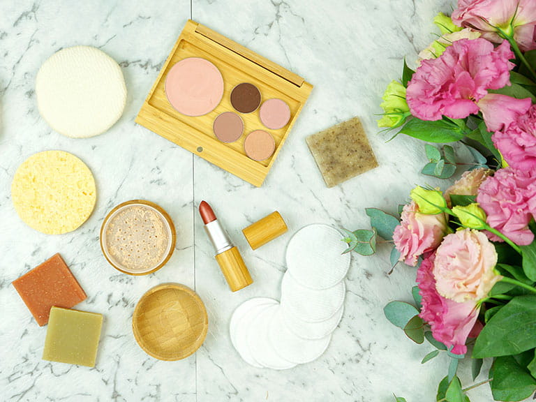 An assortment of sustainable beauty products