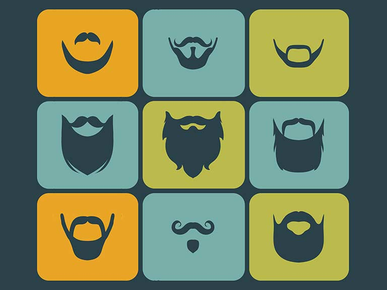 An illustration of different beard shapes