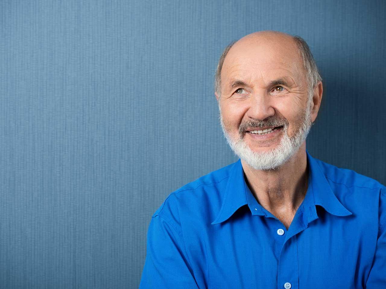 Happy Bald Senior Man Smiling